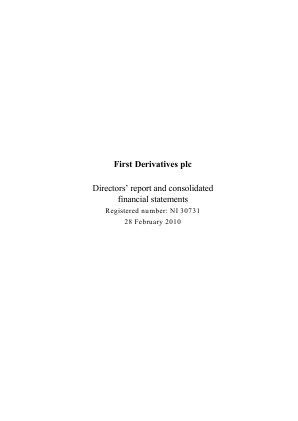 First Derivatives Plc annual report 2010