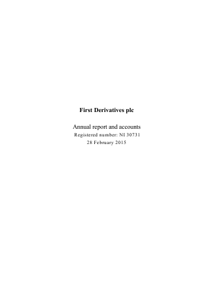 First Derivatives Plc annual report 2015