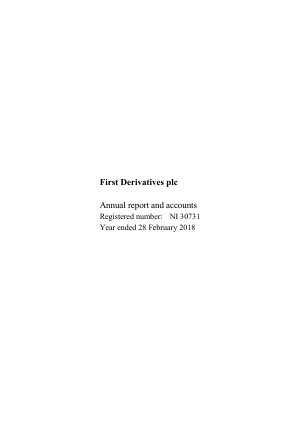 First Derivatives Plc annual report 2018