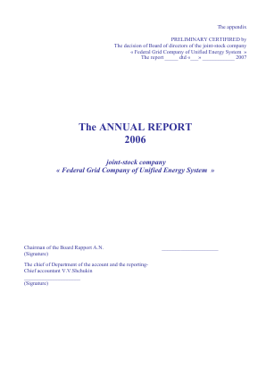 Federal Grid Company of Unified Energy Systems annual report 2006