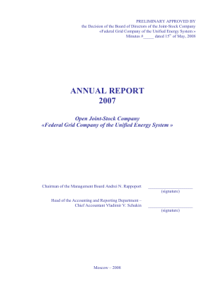 Federal Grid Company of Unified Energy Systems annual report 2007