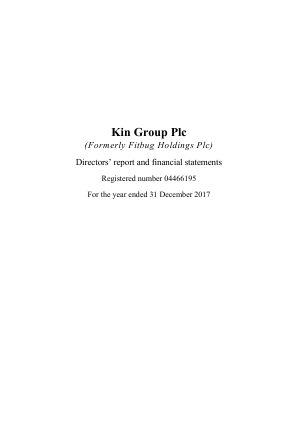 Kin Group (previously Fitbug Holdings) annual report 2017