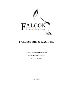 Falcon Oil & Gas annual report 2010