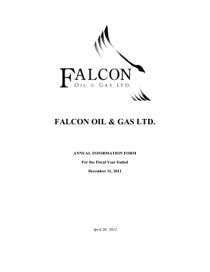 Falcon Oil & Gas annual report 2011