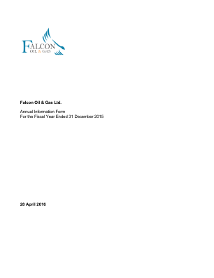 Falcon Oil & Gas annual report 2015