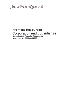 Frontera Resources Corp annual report 2009