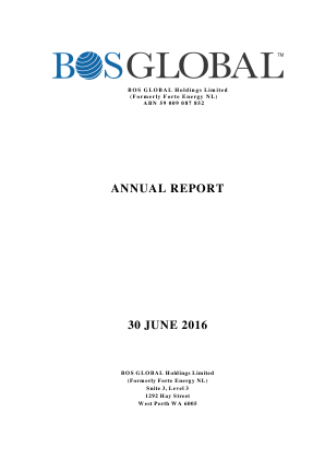 BOS Global (formally Forte Energy Nl) annual report 2016
