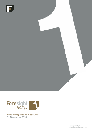 Foresight VCT Plc annual report 2013