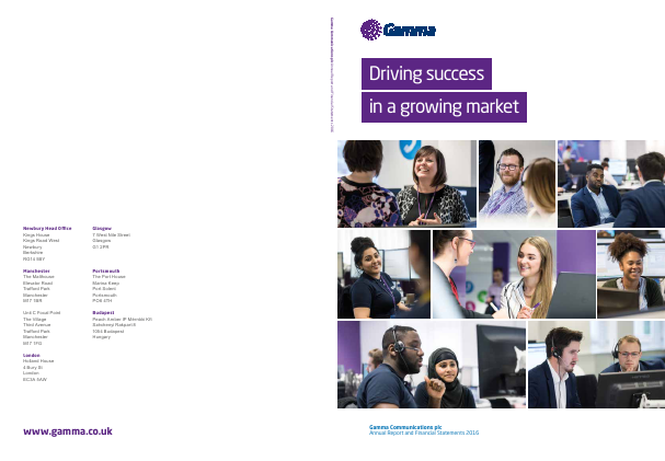 Gamma Communications Plc annual report 2016
