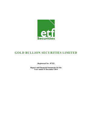 Gold Bullion Securities Limited annual report 2014