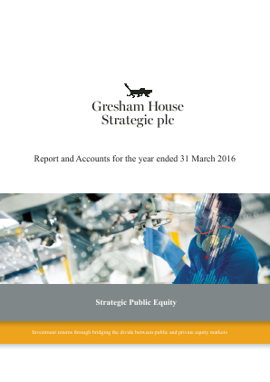 Gresham House Strategic annual report 2016