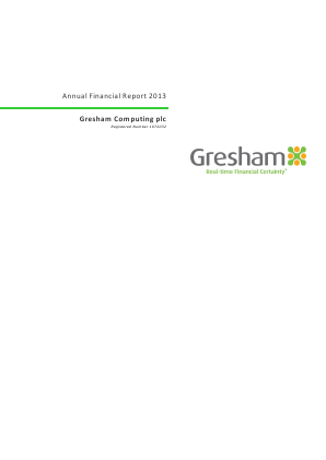 Gresham Computing annual report 2013