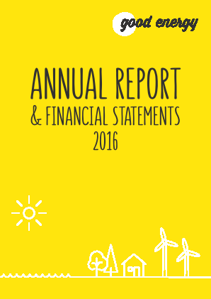 Good Energy Group Plc annual report 2016