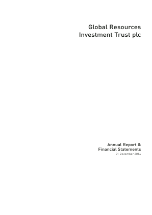 Global Resources Investment Trust Plc annual report 2016