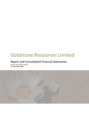 Goldstone Resources annual report 2014