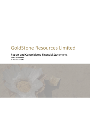 Goldstone Resources annual report 2016