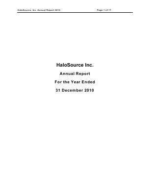 Halosource Inc annual report 2010