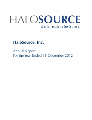Halosource Inc annual report 2012