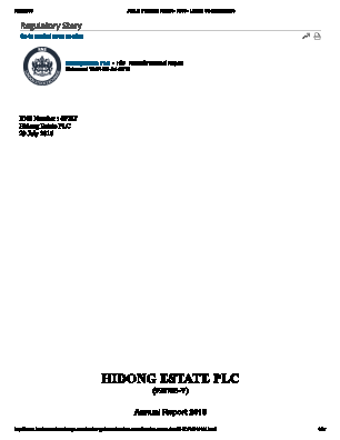 Hidong Estate annual report 2016