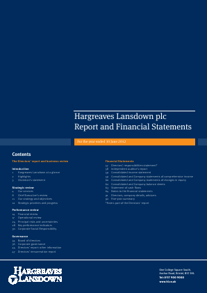 Hargreaves Lansdown Plc annual report 2012