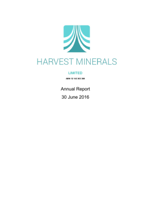 Harvest Minerals Ltd annual report 2016