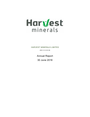 Harvest Minerals annual report 2018