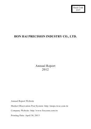 Hon Hai Precision Industry annual report 2012