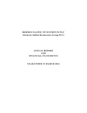 Hermes Pacific Investments Plc annual report 2012