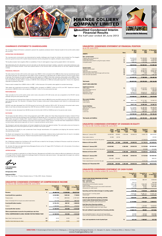 Hwange Colliery Co annual report 2013