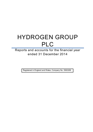Hydrogen Group Plc annual report 2014