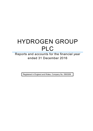 Hydrogen Group Plc annual report 2016