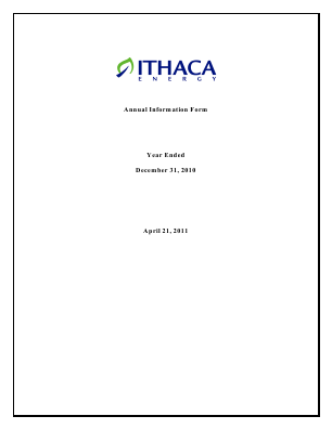 Ithaca Energy Inc annual report 2010