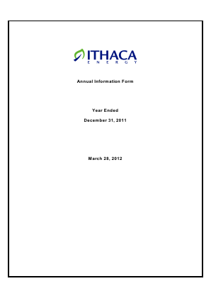 Ithaca Energy Inc annual report 2011