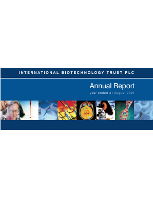 International Biotechnology Trust annual report 2007