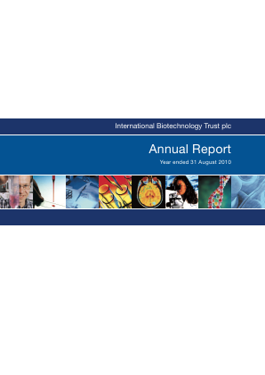 International Biotechnology Trust annual report 2010