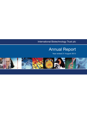 International Biotechnology Trust annual report 2012