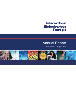 International Biotechnology Trust annual report 2016