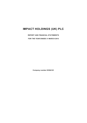 Impact Holdings(UK) annual report 2010