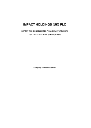 Impact Holdings(UK) annual report 2013