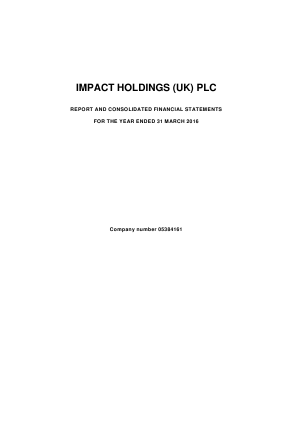 Impact Holdings(UK) annual report 2016