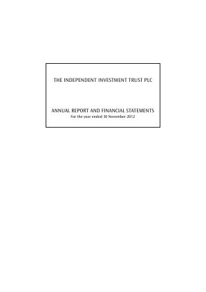 Independent Investment Trust(The) annual report 2012