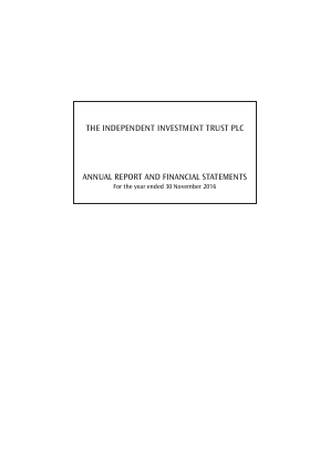 Independent Investment Trust(The) annual report 2016
