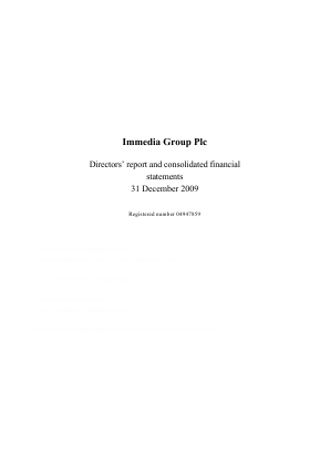 Immedia Group Plc annual report 2009