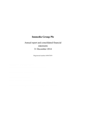 Immedia Group Plc annual report 2014