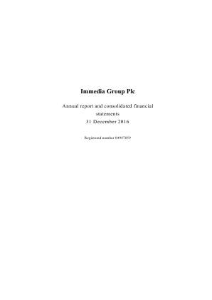 Immedia Group Plc annual report 2016