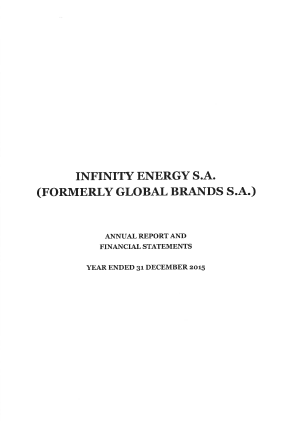 Infinity Energy Sa annual report 2009