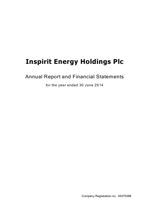 Inspirit Energy Holdings Plc annual report 2014