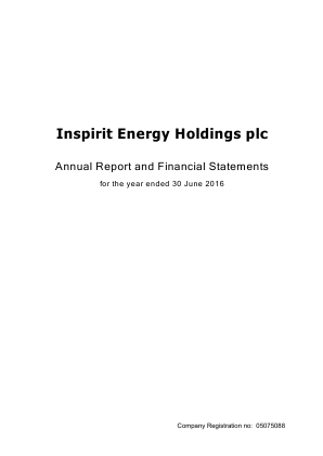 Inspirit Energy Holdings Plc annual report 2016