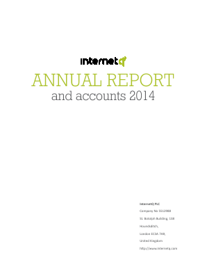 Internetq Plc annual report 2014