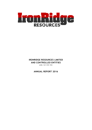 Ironridge Resources Ltd annual report 2016